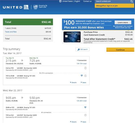 united airlines booking 563 581 cleveland to ireland into march r t fly