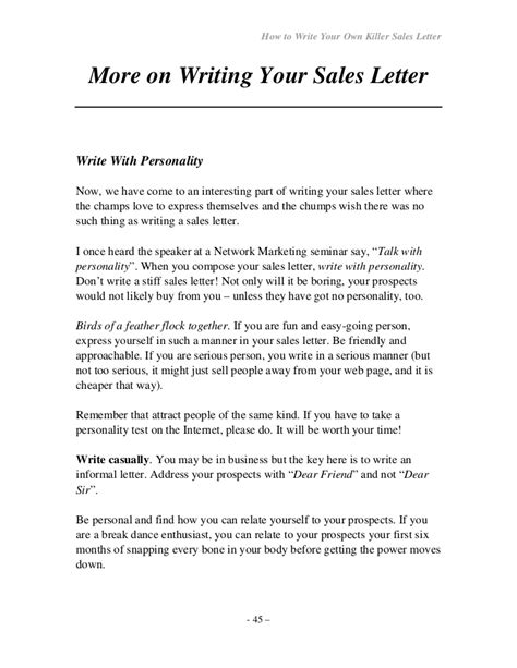 sle of formal love letter how to write your own seller letter