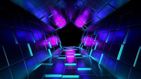 pentagon tunnel  neon lights  ultrahd wallpaper