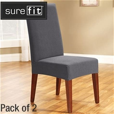 buy sure fit stretch dining chair cover 2 pack slate