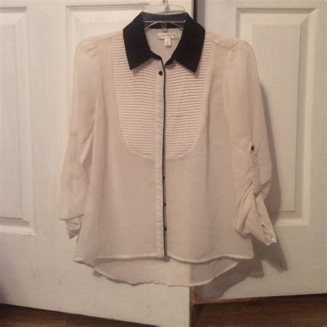 Nasya Blouse White 50 50 jcpenney tops a black and white blouse from s closet on poshmark
