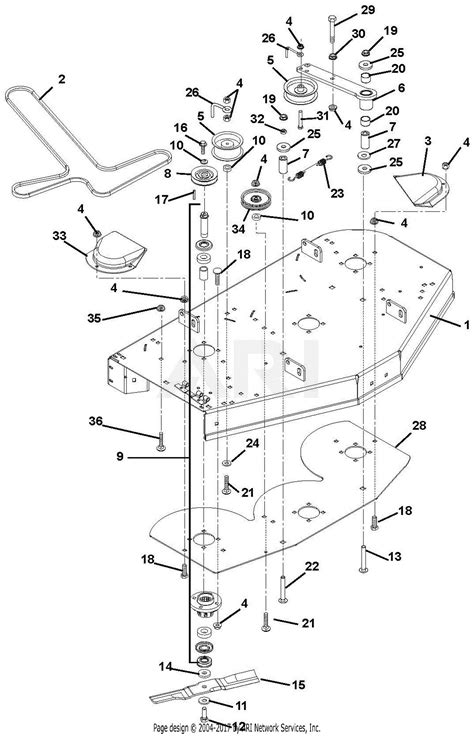 gravely   mini zt  parts diagram   mower deck belt idlers  blades