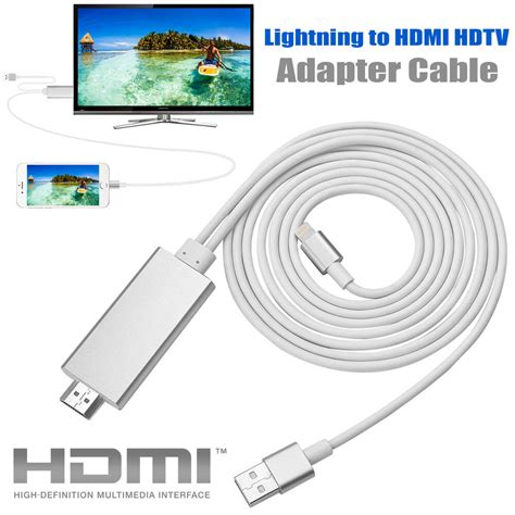2m apple lightning to hdmi hdtv av cable adapter for iphone 6 6s plus air ebay