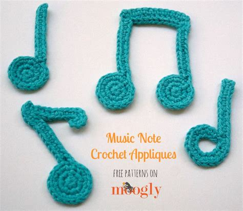 crochet pattern music notes music note crochet appliques moogly