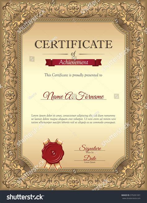 vintage certificate template certificate recognition template vintage floral frame