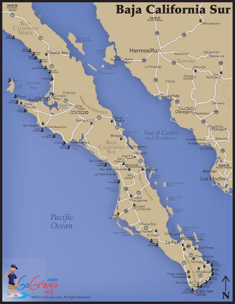 map of baja california map of baja south baja sur map go gringo
