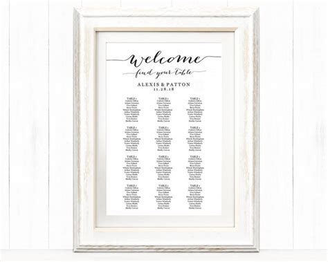 Welcome Wedding Seating Chart Template In FOUR Sizes