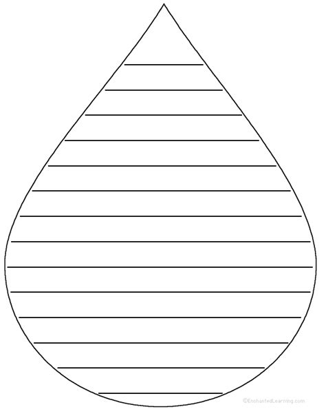 raindrop writing paper template of raindrop with lines clipart best
