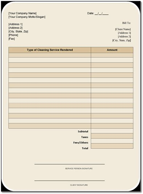 invoice template for cleaning services cleaning services invoice hardhost info