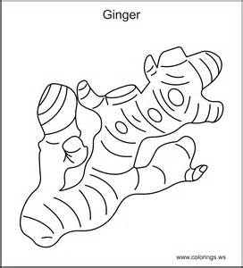 Ginger vegetable colouring pages