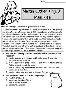 Martin Luther King Jr Reading Worksheets