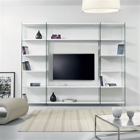 libreria in vetro libreria porta tv per soggiorno in legno e vetro 250 x 200