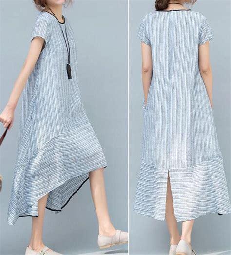 Hem Stripe Kemeja Stripe light blue light pink asymmetrical summer dress by malieb july august 17