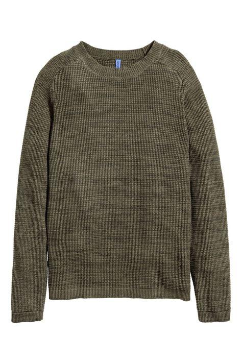 H M Textured Knit Jumper Khaki Green waffle knit sweater khaki green sale h m us