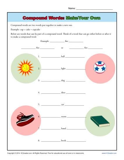 make your own vocabulary flash cards compound words worksheet activity make your own