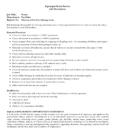 Utility Porter Cover Letter by Porter Description Building Porter Description Resume Best 25 Description Ideas On