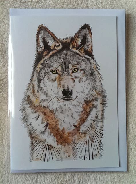 printable wolf birthday cards a5 c5 wolf greeting card by meganhumphriesart on etsy