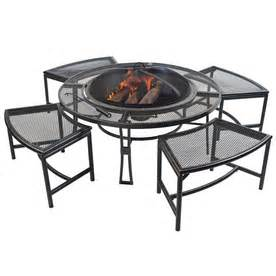 Fire Pit Chairs Lowes - garden treasures steel fire pit set with table stools amp mesh wire cover at lowes chairs seating