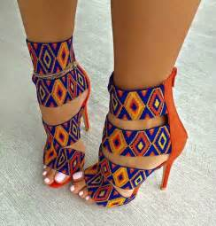 colorful booties shoes pattern orange blue multicolor heels high