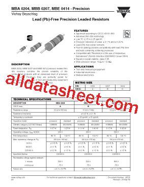 all resistors datasheet mbe0414 datasheet pdf vishay siliconix