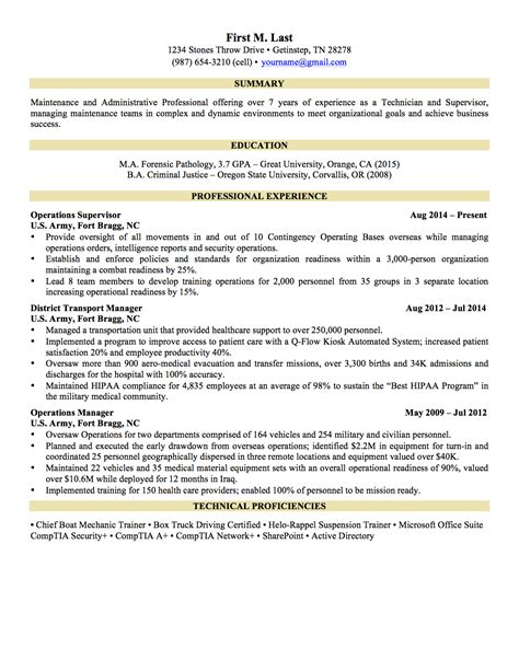 To Civilian Resume Exles Infantry by Army Sergeant Resume Sergeant Resume Sles Visualcv