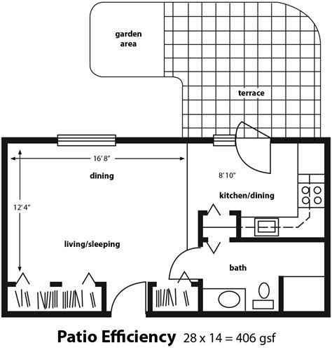 efficiency floor plans efficiency apartment with patio golden years