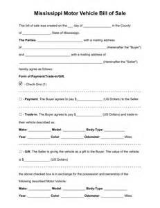 motor vehicle bill of sale template free mississippi motor vehicle bill of sale form pdf