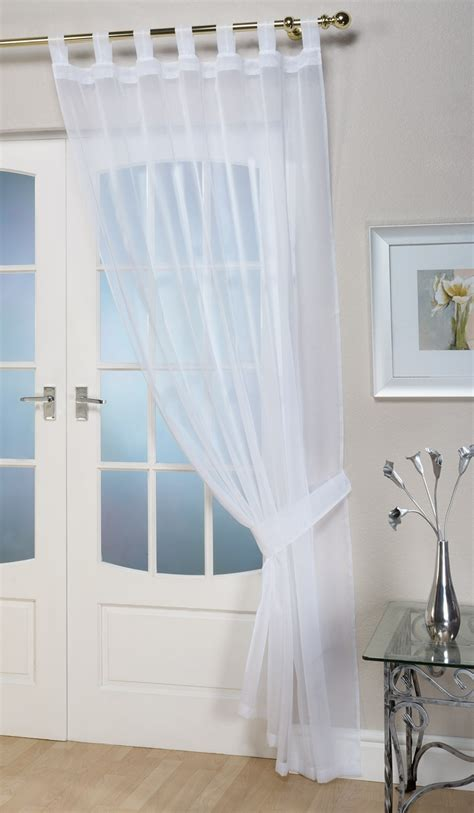 White Voile Curtains Voile Panels Opaque White Tab Top Curtain Panel