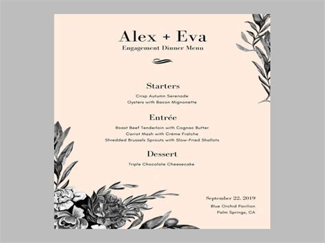 6 Engagement Party Menu Templates Designs Templates Free Premium Templates Dinner Menu Template