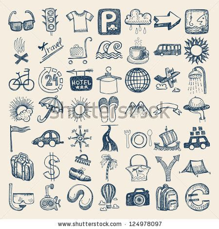 doodle draw theme icon pack 49 drawing doodle icon set travel theme stock vector