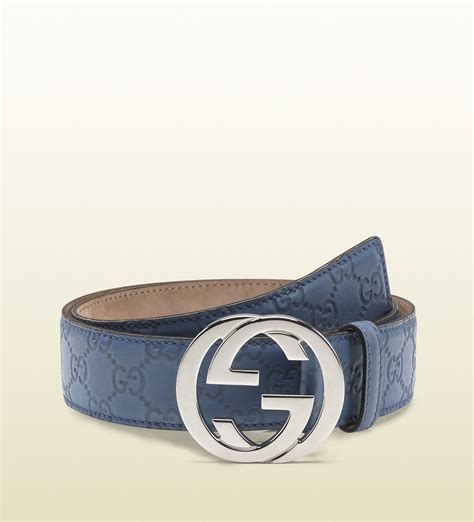 Gucci Ns Leather Blue lyst gucci sky blue guccissima leather belt with interlocking g buckle in blue for
