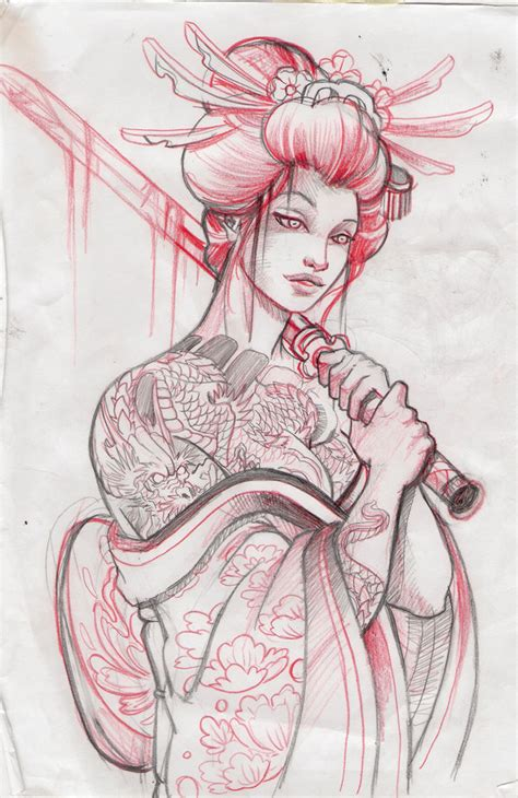 tattoo geisha sketch geisha13 sketch by mojoncio on deviantart