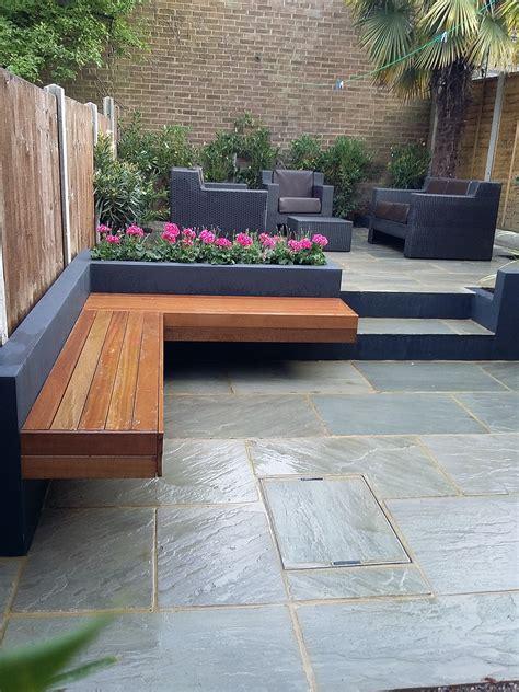 modern garden design sandstone paving patio
