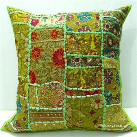 vintage patchwork indian sofa throw pillow