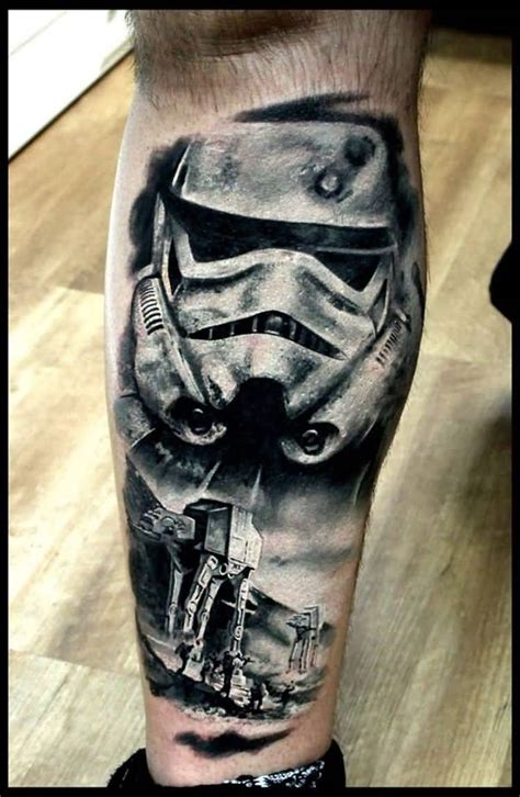 stormtrooper tattoo grey ink stormtrooper on right leg