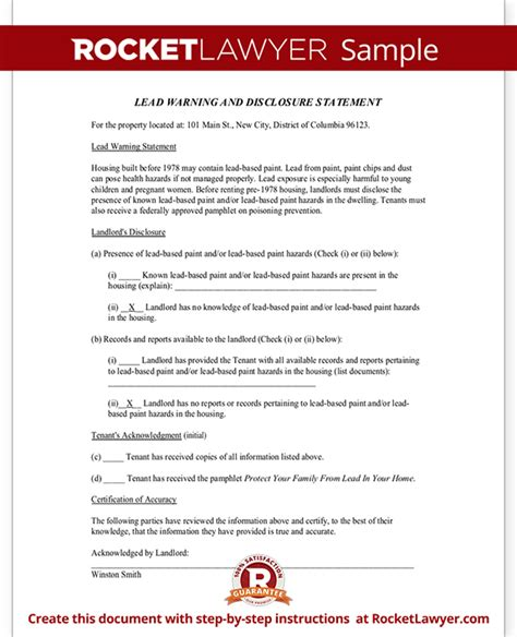 Printable Sample Non Disclosure lead paint disclosure form statement with sample