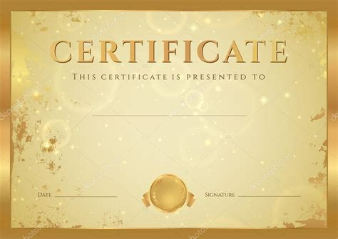 golden pattern award certificate of completion diploma design template