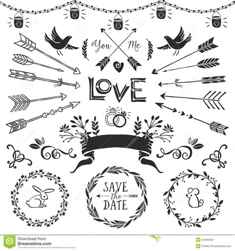 hand draw design elements vector vintage decorative elements with lettering hand drawn