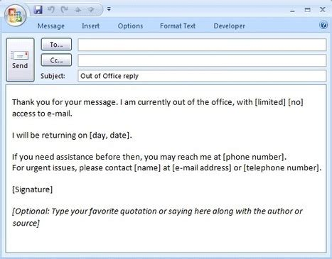 E Mail Message Out Of Office Reply Formal Out Of Office Email Template