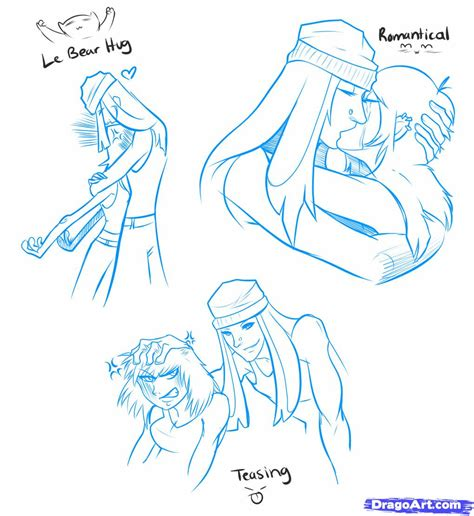 how to draw two people hugging