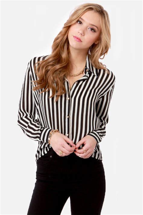 Lil Dot Favor Sleeve Stripe striped shirt black and white shirt button up shirt 38 00