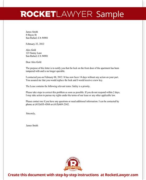 Renters Letter To Landlord Complaint Letter To Landlord Template With Sle