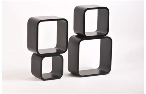 mensole quadrate set di 4 mensole quadrate pop colore nero miliboo