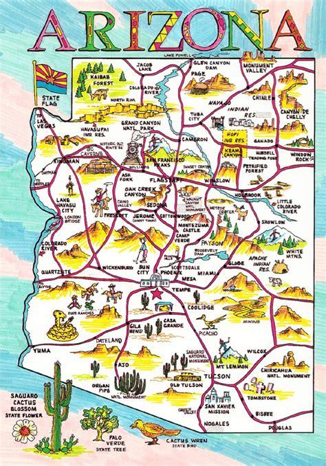 arizona highway conditions map postcard of arizona state and highway map 1 hippostcard