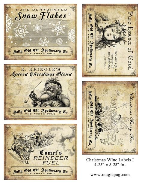 Printable Christmas Wine Labels | antique christmas potion wine labels 4 25 x 3 25 digital