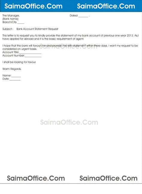 Requirement Of Bank Statement Letter Sle Letter Format For Bank Statement Documentshub