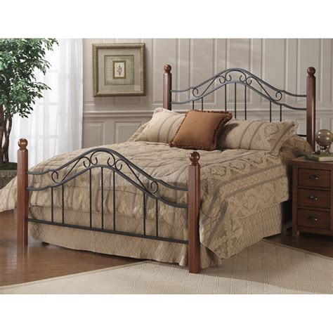 wood and metal bed madison wood iron bed in cherry by hillsdale furniture