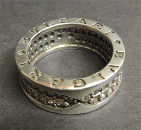 silver bvlgari ring with row zirconia catawiki