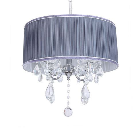 on l shade l amour 4 light chandelier in pleated shade grey from
