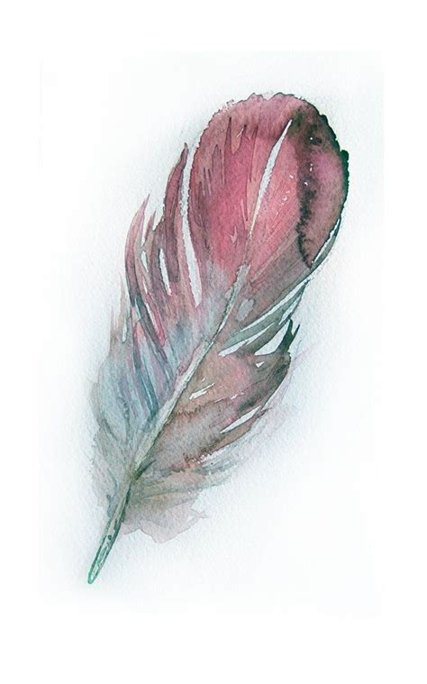 water color feather watercolor feather painting original feather painting